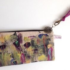Pochette sac à main , en lin peinte à la main fuchsia et or