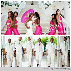 Nigerian Wedding: How To Combine Colors For Your Bridesmaids & Groomsmen