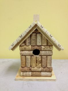 Wine cork and wood birdhouse bird house handmade from real