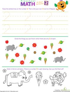 all numbers preschool worksheet | Preschool Math: All About the Number 2 | Worksheet | Education.com