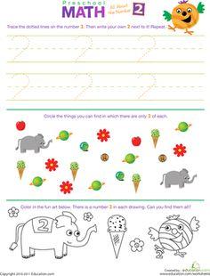 all numbers preschool worksheet | Preschool Math: All About the Number 2 | Worksheet | Education.com