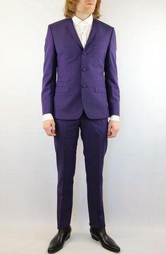 Madcap England Mod 60s Mens 2 piece Retro Mohair Suit in Plum.
