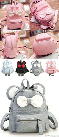 Which color do you like? Cute Mini Bow Kitty Ears Small Cartoon School PU Backpacks #cute #mini #bow #Kitty #ear #small #cartoon #school #PU #backpack #bag