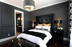 Black Leather Headboard - Design photos, ideas and inspiration. Amazing gallery of interior design and decorating ideas of Black Leather Headboard in bedrooms, boy's rooms by elite interior designers. Black Bedroom Design, Bedroom Black, Bedroom Designs, Bedroom Ideas, Master Bedroom, Charcoal Bedroom, Gothic Bedroom, Charcoal Gray, Charcoal Walls