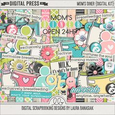 Included in this digital scrapbook kit are 15 papers, one lowercase alphabet with numbers and some symbols and over 40 breastfeeding themed elements.