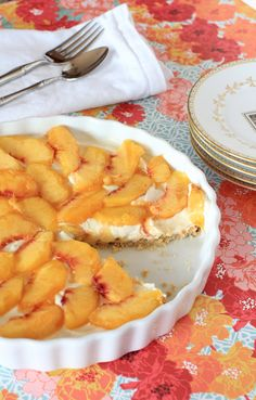 Peach Cream Cheese Tart with Cinnamon Almond Crust and Berry Sauce.  Dessert for breakfast!