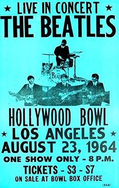 """The Beatles - Hollywood Bowl."" Fantastic A4 Glossy Art Print Taken from A Vintage Concert Poster by Design Artist http://www.amazon.co.uk/dp/B01560J10S/ref=cm_sw_r_pi_dp_pYs8vb00X6MDP"