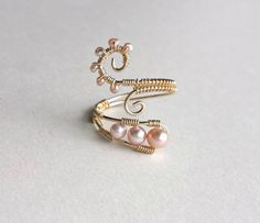Pink Pearl Wire Ring Pink Gold Ring Wire by BellaAnelaJewelry
