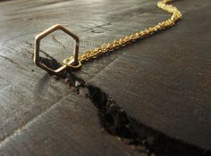 Modern Necklace Gift Gold Silver Hexagon Geometric Shape Rustic Delicate Simple Everyday Jewelry Gift Sisters Best Friends Friendship