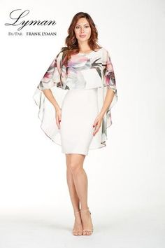 Stunning Cocktail dress with chiffon floral overlay. Proudly Made in Canada.
