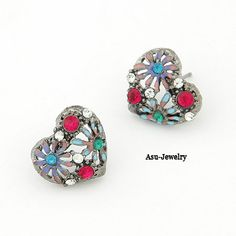Blank Sapphire Blue Round Shape Decorated Simple Design Alloy Stud Earrings