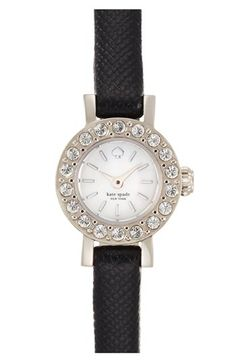 kate spade new york 'pierre' crystal bezel leather strap watch, 10mm available at #Nordstrom