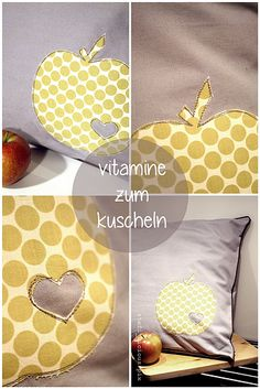 apfel-Applikation Christmas Sewing Projects, Diy Sewing Projects, Home Crafts, Diy Crafts, Sewing Pillows, Love Sewing, Sewing Techniques, Kids Rugs, Apple