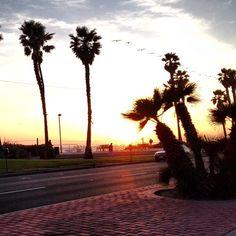Sunset on the horizon. Huntington beach, California. Beautiful sight