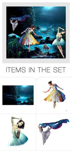 """MOONLIGHT:  DANCE OF THE DOLPHINS"" by melange-art ❤ liked on Polyvore featuring art"