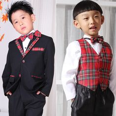 Boys Black and Red Plaid Two Button Modern Vintage Dress Suits Outfits SKU-132045