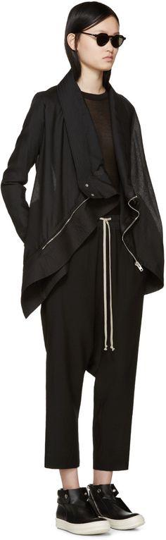 Rick Owens Black Wool Poplin Exploder Jacket