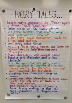 Fairy Tales... Talk 4 Writing, Teaching Writing, Teaching English, Traditional Literature, Fairy Tale Activities, Fractured Fairy Tales, Fairy Tales Unit, Classroom Charts, 5th Grade Reading