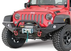 Quadratec Exclusive Q-Series Winch in Black with Smittybilt XRC M.O.D. Front Bumper and Full Width Endcaps for 07-16 Jeep® Wrangler & Wrangler Unlimited JK   Quadratec