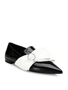 Prada Patent Leather Bow Point-Toe Loafers