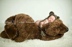 Crochet Newborn Baby Bear Bonnet Hat  Photography by HWBKBoutique, $15.95