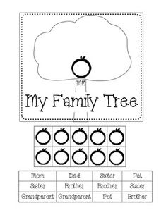 Family tree worksheet. American English worksheet for ESL / EFL/ ESOL kids.