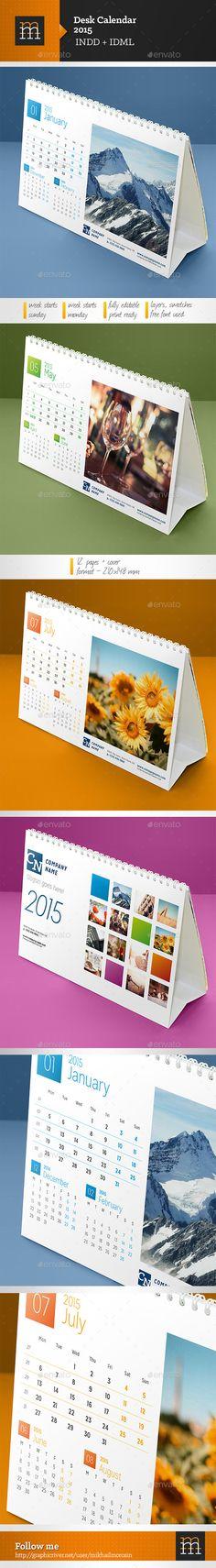 Desk Calendar 2018 template design, red cover, Set of 12 Months ...