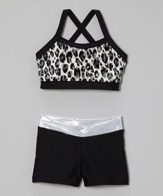 Look at this #zulilyfind! Black & Silver Leopard Sports Bra & Shorts - Girls by Elliewear #zulilyfinds