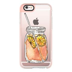 Summer Sun Iced Tea with Lemons Hand Painted Waterolor Drink in a... found on Polyvore featuring accessories, tech accessories, phone cases, phone, electronics, tech, iphone case, iphone cases, iphone cover case and transparent iphone case