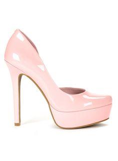 Pale Pink Patent Platform High Heels