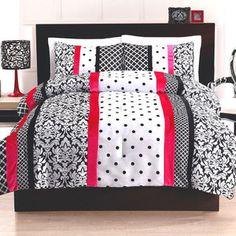 Cosmo Girl Black and Pink Dot Stripe Comforter Set