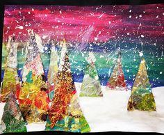 Winter collages, middle school art коллаж, пейзажи, идеи д Kunstjournal Inspiration, Art Journal Inspiration, Winter Art Projects, Projects For Kids, Middle School Art, Art School, Christmas Tree Art, 6th Grade Art, Elementary Art
