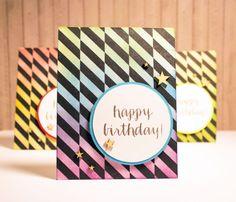 Birthday Card Set - 4 Ombre Rainbow Happy Birthday Cards