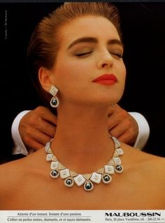 Mauboussin, Jewelry — Images and vintage original prints Jewelry Ads, Royal Jewelry, Pearl Jewelry, Jewelery, Fashion Jewelry, Jewelry Design, Vintage Accessories, Vintage Jewelry, Handmade Jewelry