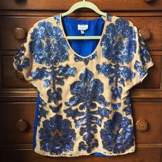 Neiman Marcus for Target Sequin Blouse Neiman Marcus for Target Sequin Blouse. Blue and Gold. Worn once. 100% Polyester. Neiman Marcus Tops Blouses