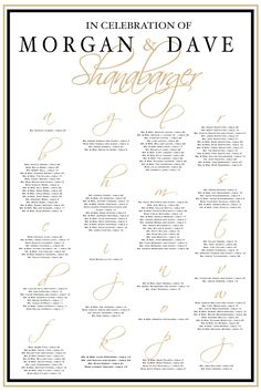 Gold and Black Elegant Wedding Seating Chart by Charming Paper Shop. Perfect for wedding receptions. #weddingseatingboard #blackandgold