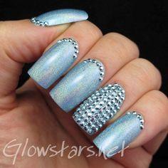 Featuring Born Pretty Store Blue Stud Rhinestones: A manicure using Shaka Hologram Sky
