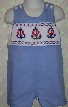 Seriously gotta learn how to smock! Boy's Smocked Nautical Shortall by gumdropgrove on Etsy, $52.00