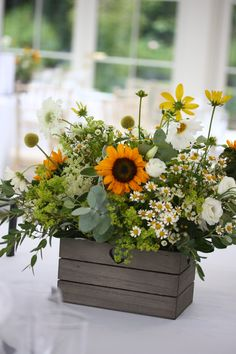 Jen wanted to bring the sunshine in for her wedding at Hayne House, Kent. A clean yellow, green and white colour scheme full of Sunflowers, Scabious and Rudbeckia. Sunflower Wedding Centerpieces, Sunflower Floral Arrangements, Sunflower Bouquets, Wedding Table Centerpieces, Wedding Bouquets, Sunflower Weddings, Sunflower Wedding Flowers, Lace Flowers, Wedding Dresses