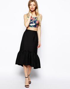 Peplum Hem Pencil Skirt In Texture, €77.46