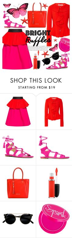 """Bright Summer Ruffles"" by alexandrazeres ❤ liked on Polyvore featuring Isa Arfen, Oscar de la Renta, Stuart Weitzman, Armani Jeans, MAC Cosmetics, bright, ruffles, fuchsia, fashionset and redandpink"