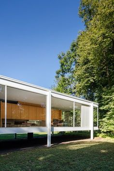 Farnsworth House | Mies Van der Rohe Philip Johnson Glass House, Farnsworth House, Glass Pavilion, Steel Columns, Story House, Ceiling Windows, Ground Floor, Living Spaces, Gallery