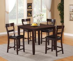 HENDERSON 5 PIECES SQUARE COUNTER HEIGHT DINING SET