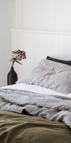 Add texture to your room with our Charcoal Striped French linen bedding. Seen here is our Charcoal Striped pillowcase and double sided linen quilt cover in Olive and Stripe Cotton Bedding Sets, Linen Bedding, Bed Linens, Linen Bedroom, Quilt Bedding, Home Bedroom, Bedroom Decor, Master Bedroom, Diy Bett