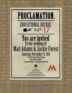 Printable Harry Potter Proclamation Invitation. $12.00, Via Etsy.