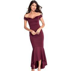 Maroon Off-Shoulder Evening Dress LAVELIQ