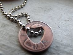 Heart Lucky Penny Drop Pendant by patsdesign on Etsy, $12.00