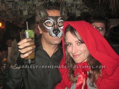Last-Minute Wolf and Little Red Riding Hood Couple's Costumes… Enter Coolest Halloween Costume Contest at http://ideas.coolest-homemade-costumes.com/submit/
