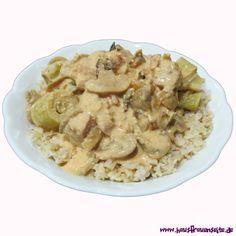 Jägertopf für 8 Personen - Partyrezept  Rezept für einen leckeren Jägertopf mit Schnitzelfleisch, Champignons, Porree, Zwiebeln, Schmelzkäse und Sahne glutenfrei Yummy Recipes, Yummy Food, Pasta Salad, Ethnic Recipes, Glutenfree, Snack Station, Stew, Pork, Crab Pasta Salad
