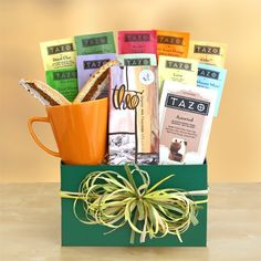 """""""Tazo Tea Temptations Gift"""" Sip your way to a beautiful day with this comforting gift. Stocked with an assortment of the finest Tazo teas from Zen and Passion to Organic Chai and Earl Grey, they are ready to be enjoyed in an earthenware ceramic mug. Starbucks Gift Baskets, Tea Gift Baskets, Gourmet Gift Baskets, Gourmet Gifts, Food Gifts, Hamper Gift, Raffle Baskets, Baby Shower Prizes, Shower Games"""